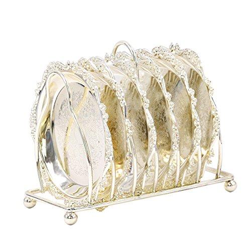 IHClink - Set di piatti di lusso in acciaio inossidabile, set da 6 piatti in metallo per torta di compleanno e frutta, da 10,7 x 10,7 cm, per feste di compleanno, matrimonio, festival Argento