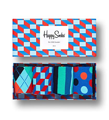 Happy Socks, bunt premium baumwolle Geschenkkarton 4 Paar Socken für Männer & Frauen, Filled Optic en Geschenkbox, (36-40)