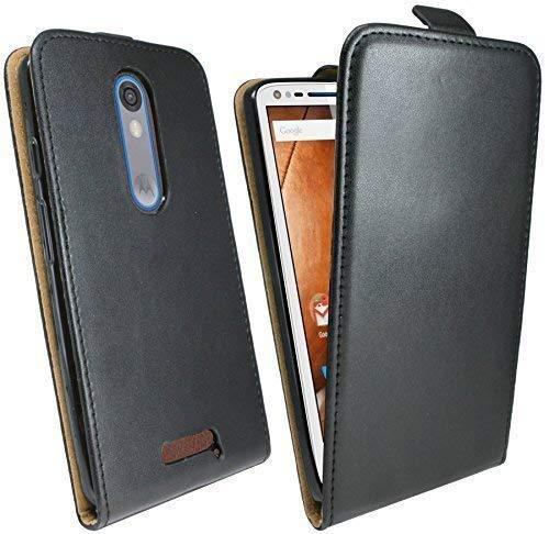 ENERGMiX Klapptasche Schutztasche kompatibel mit Motorola Moto X Force in Schwarz Tasche Hülle