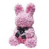 Y-XM Künstlich Rose Hase PE Schaum Strauß im Geschenk Box Zum Freunde Liebhaber Menschen Familie