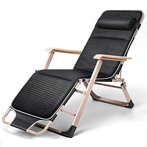 Relaxliege Liegestuhl, Verstellbar Freizeitliege, Gartenliege Klappbar Sonnenliege, Aluminiumrahmen Dreibeinliege mit 5 cm Dicker Matratze, Abnehmbares Kopfkissen, bis 200 kg belastbar, anthrazit