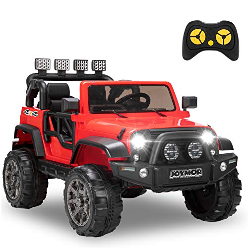 JOYMOR 12V Ride on Truck 2 Seat Kids Electric Battery Powered Car w/ 2.4G Remote Control, Motorized Toddler Vehicles Truck Toy, Adjustable Speeds, MP3 Player, LED, Horn (Red)
