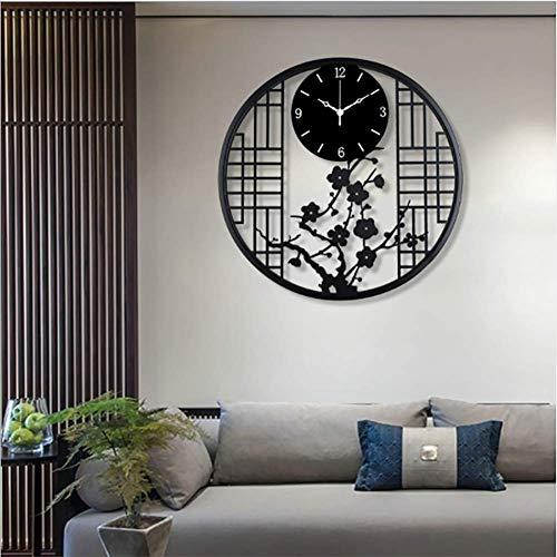 JHSHENGSHI Große Wanduhr, Chinesische Vintage-Uhr Mit Arabischen Ziffern, Leise, Nicht Tickende, Batteriebetriebene, Rustikale Metalluhr Für Zu Hause, Schlafzimmer