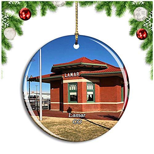 Weekino Lamar Colorado USA Christmas Ornament Xmas Tree Decoration Hanging Pendant Travel Souvenir Collection Double Sided Porcelain 2.85 Inch