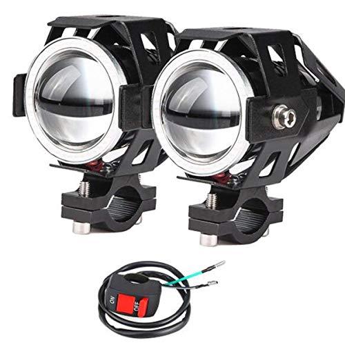 2x Motorrad Scheinwerfer mit Angel Eyes Lichter CREE U7 DRL Nebelscheinwerfer für Autos Fahrrad Boot ATV Scheinwerfer vorne High/Dim/Strobe 3 Modi 3500K blaue Farbe enthalten Schalter