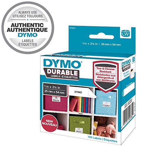 Dymo 1976411 LW Hochleistungs-Etiketten (für LabelWriter-Etikettendrucker, weißes Polyester, 25mm x 54 mm) Rolle mit 160 Etiketten