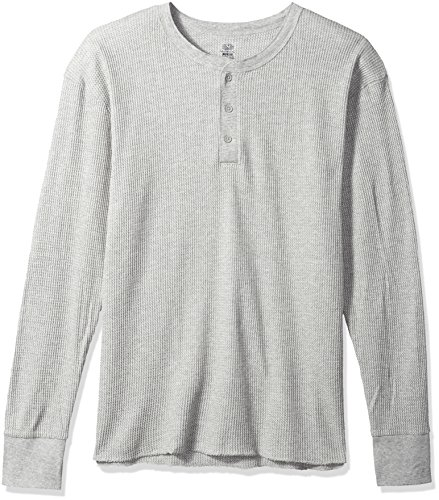 Fruit of the Loom Men's Classic Midweight Waffle Thermal Henley Top, Light Grey Heather, Medium