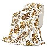 Manta cálida de forro polar con hojas doradas, 130 x 150 cm, manta de sofá, manta de franela supersuave, manta acogedora y mullida para el salón, antipilling
