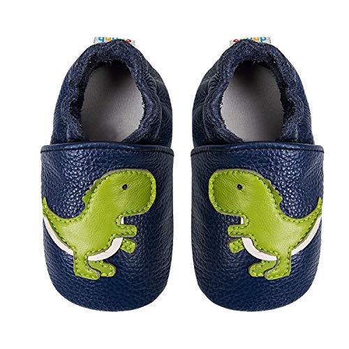 mengrui Weicher Leder Baby Lauflernschuhe Krabbelschuhe Babyhausschuhe Rutschfesten Wildledersohlen Jungen Mädchen 12-18 Monate Grün