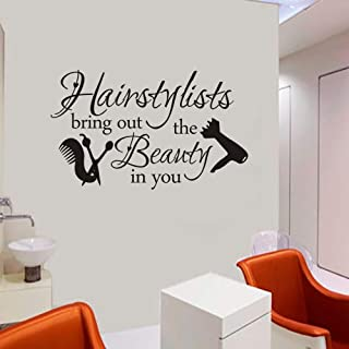 FlyWallD Hair Salon Decal Hairstylist Quotes Wall Sticker Vinyl Art Window Barbershop Decor