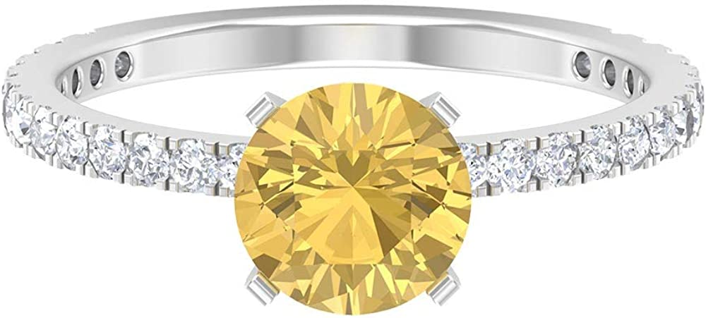 2.02 CT Certified Round Shaped Citrine Diamond Solitaire Engagement Ring, Women Yellow Gemstone Statement Partywear Ring, Latest Anniversary Halo Ring, 14K Gold