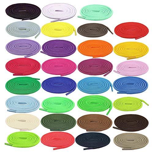 WangWLT 31 pares de cordones redondos de las zapatillas de deporte, cordones planos de colores, utilizados para los zapatos de skateboard, botas de patinaje y zapatos deportivos 100cm/39inck