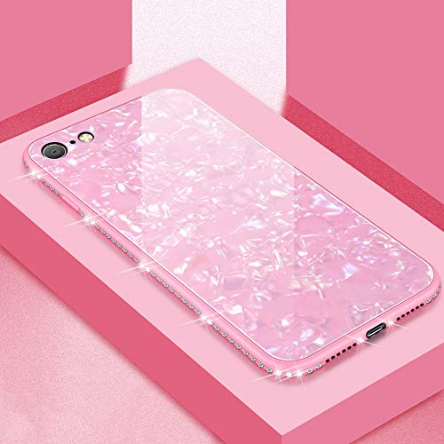 UEEBAI Hülle für iPhone SE 2020 iPhone 7 iPhone 8, Muschel Design Handyhülle Ultra Slim mit Eingelegt Glitzer Diamant Strass Gehärtetes Glas Zurück Abdeckung TPU Bumper Case Anti Kratzer Frauen - Rosa