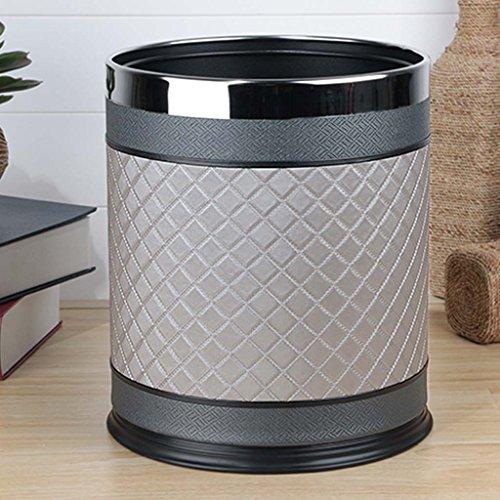QFF Trash Home Living Room Chambre à coucher Cuisine Cuisine WC Toilette Cuir Double couche Metal Creativity Simple ( Couleur : Gris )