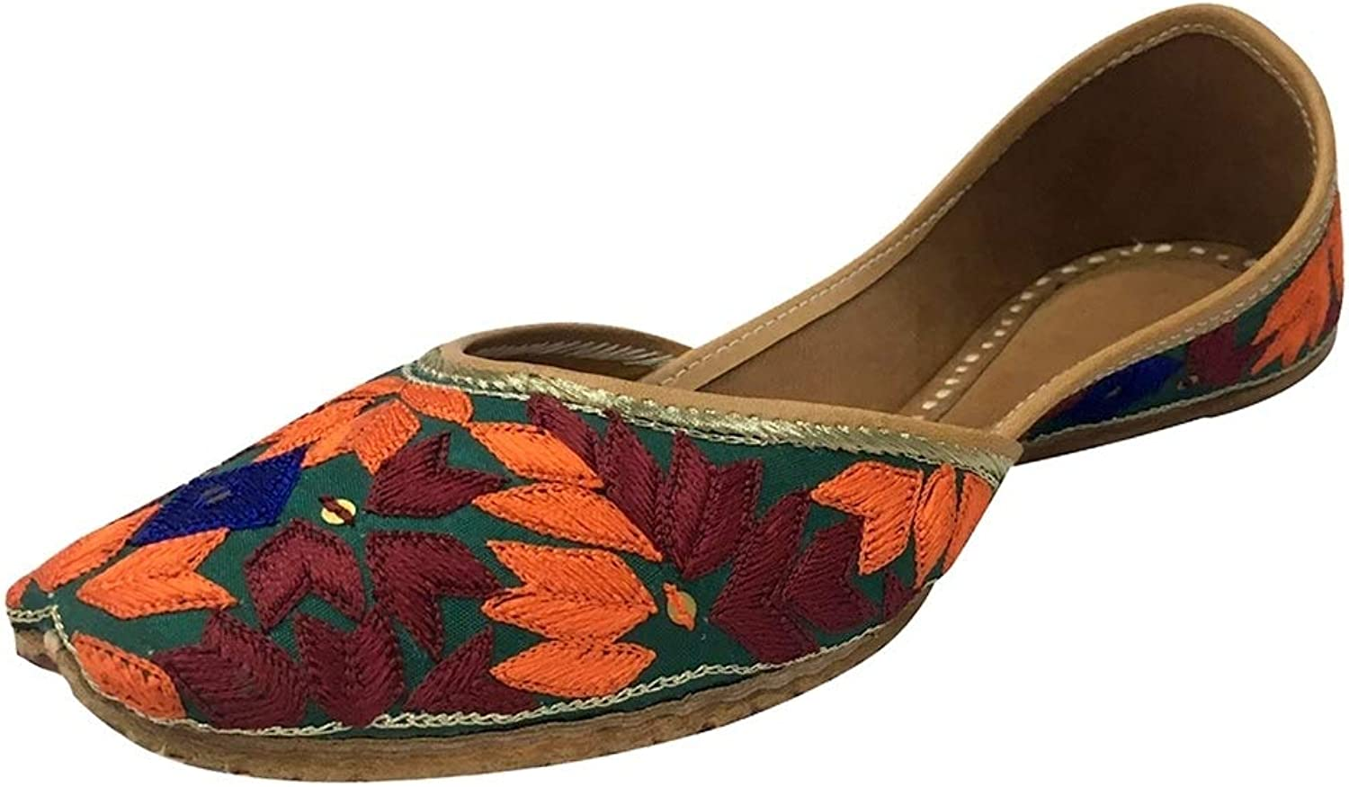 Step n Style Womens Colourful Indian Khussa Flat Pumps shoes Phulkari With Payel