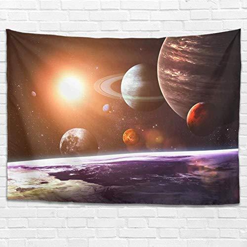 BOIPEEI Fantasía Tierra Planetas Sol Sistema Solar Impresión Espacial Tapiz Colgante de Pared Decoración de Pared Colcha mágica Blanco 100Cmx70Cm