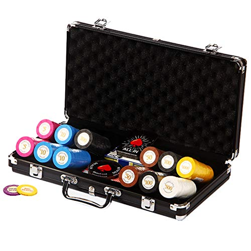 CHIPS Pokerset con 300 Láser 14 Gramos Núcleo de Metal, Incluyendo Póker Set, Fichas de Póquer, Maletas, Juego de Póquercon