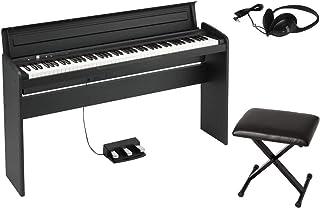 【純正ヘッドホン+純正折り畳みイス(黒) セット】 KORG/コルグ LP-180 BK 電子ピアノ ブラック