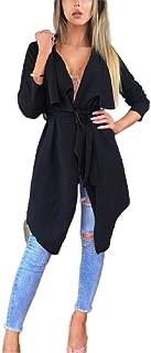 Mogogo Womens Warm Irregular Hem Solid Colored Turn Down Collar Cardigan