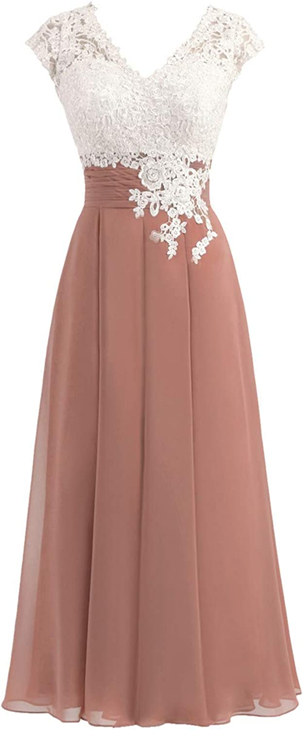 Libaosha Women's VNeck Bridesmaid Gowns with Cap Sleeves Mother of The Bride Dresses