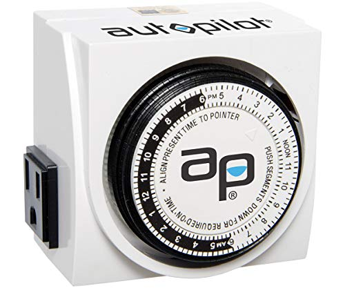 Autopilot Analog, UL-Listed Hydrofarm TM01015D Dual Outlet Grounded Timer, White