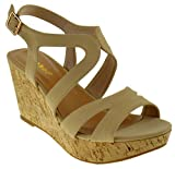 BAMBOO Range 47 S Womens Elegant Strappy Cork Wedge Sandals Nude Nubuck 8.5