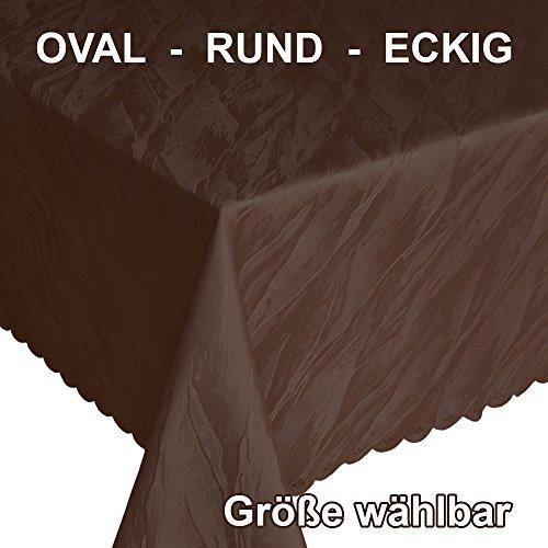Quinnyshop Damast Dunkelbraune Tischdecke Tischaufleger mit Marmormuster ca. 160 x 320 cm Eckig Polyester, Braun