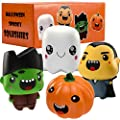 Halloween Squishies Toys - 4 Pack Slow Rising Super Cute Soft Stress Relief Squeeze Squishy Set Pumpkin, Vampire, Ghost, Zombie for Kids Halloween Party Favors Gifts