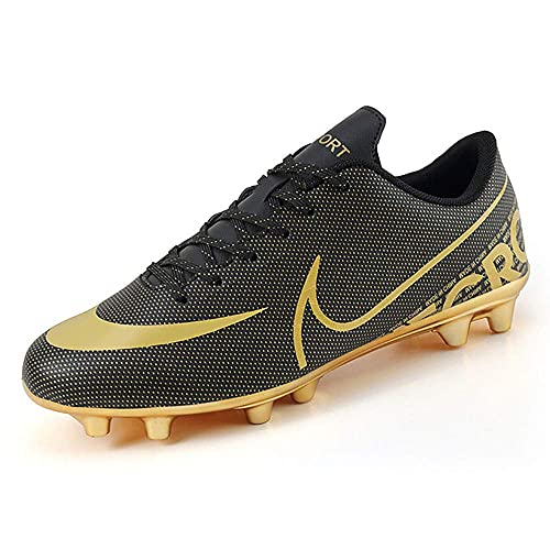 GFKD Roth Assassin 13Th Generation Zapatos De Fútbol Hombres Y Mujeres Tf Broken Nails Zapatos De Entrenamiento Dorado, negro, 8 UK