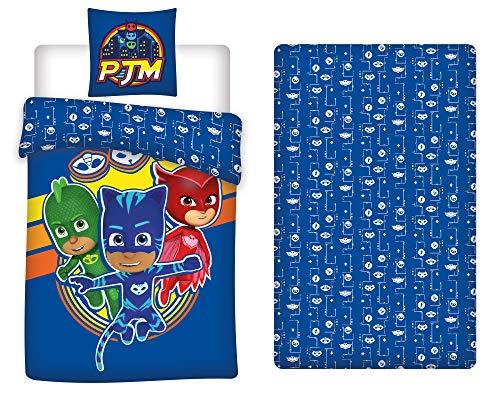 LesAccessoires PJ Masks - Juego de cama (funda nórdica de 140 x 200 cm + funda de almohada + sábana bajera de 90 x 190 cm)