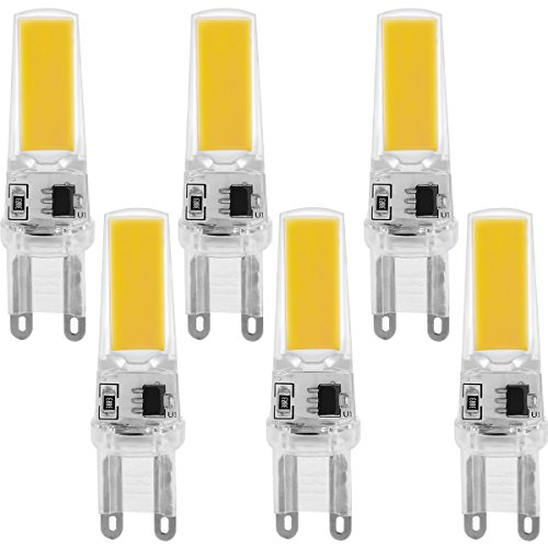 LEDEARA G9 COB LED Birne 3W Warmweiß 3000K 220V-240V 300LM Leuchtmittel, Ersetzt 30W Halogenlampe, LED Lamp 6er Pack