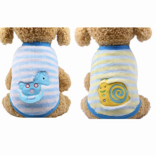 YIKEYO Set of 2 Winter Funny Chihuahua Clothes Boy XXS xs s m l XL XXL Clothes for Shih tzu English Bulldog, XSmall Dog Sweater, Cute Dog Clothes Teacup (Horse+ Snails, XX-Small)