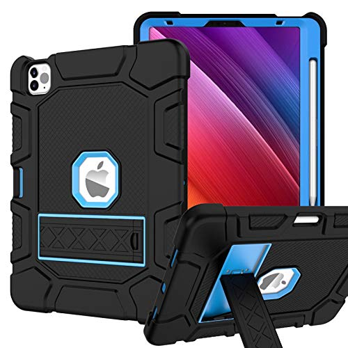 Rantice Case for iPad Air 4th Generation 10.9' 2020, iPad Pro 11 Case, Heavy Duty Hybrid Shockproof Protection Cover Built with Kickstand and Pencil Holderfor iPad Air 10.9'' 4th Gen (Black+Blue)