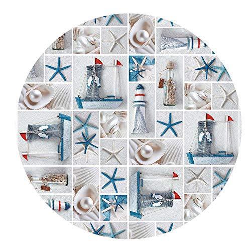 DecoHomeTextil Wachstuchtischdecke Wachstuch Tischdecke Gartentischdecke Rund Oval Seesterne Rund 100 cm abwaschbare Wachstischdecke