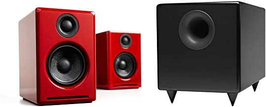 Audioengine A2+ Limited Edition Premium Powered Desktop Speaker Package (Red) With S8 Premium Powered Subwoofer