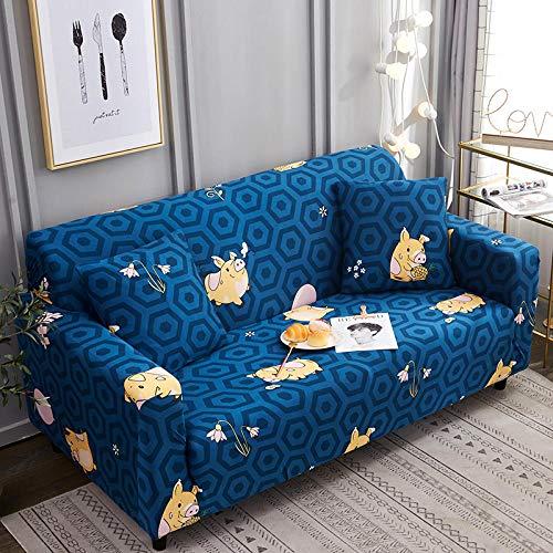 WPHRL Elastischer Sofa-Überwürfe Blaues Schwein Antirutsch Stretch Sofaüberzug 3 Sitzer,Sofahusse Sofabezug Sofa Abdeckung Hussen für Sofa Couch Sessel in Verschiedene Größe und Farbe 195-230cm