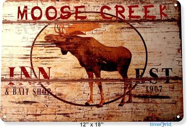 Metal Tin Sign 8x12 Inches TIN Sign Moose Creek Motel Rustic Metal Decor