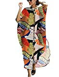 Bsubseach Women's Stylish Colorful Leaf Print Swimsuit Cover Ups Plus Size Caftan Dresses Button Up Beach Kaftan Shirt Dress