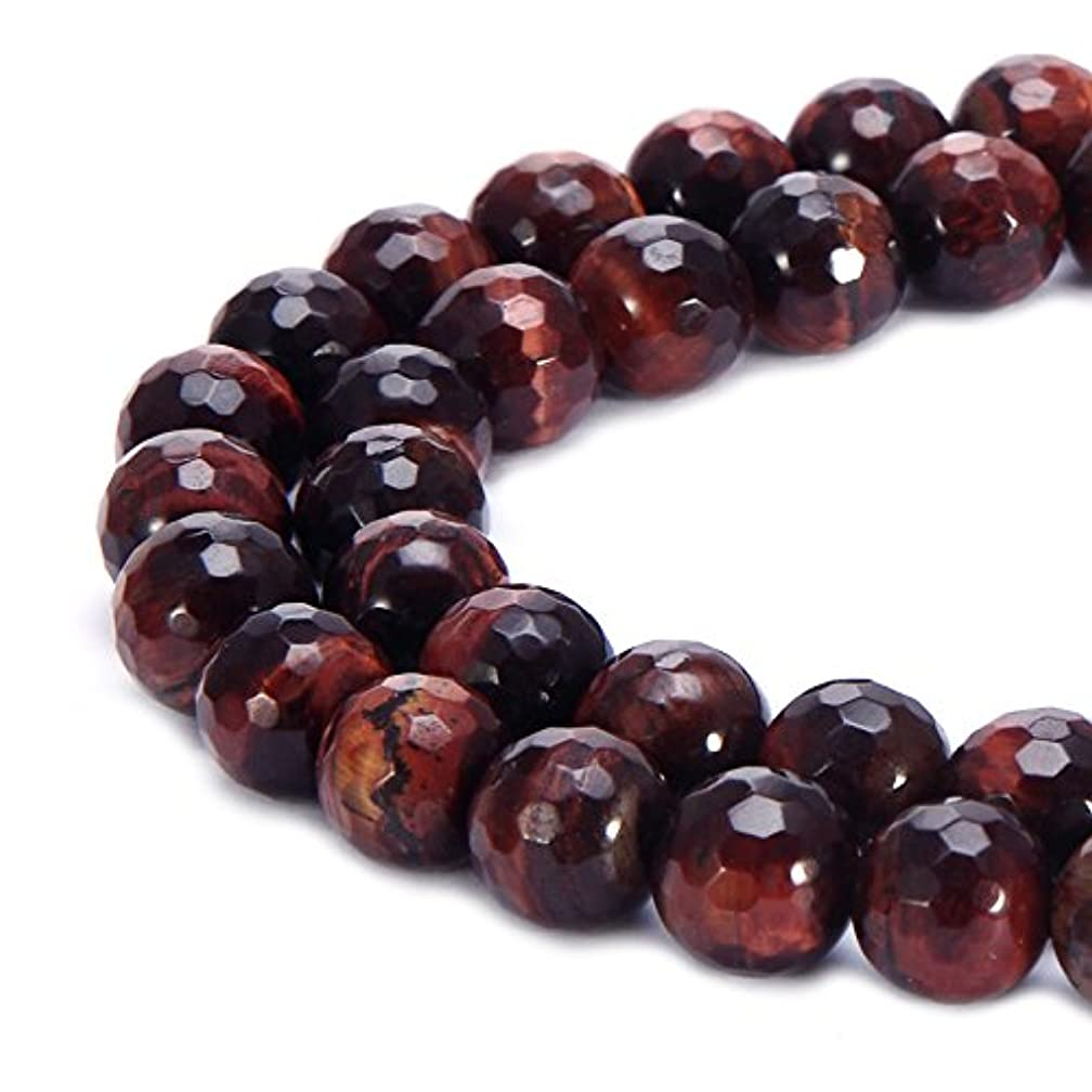 BRCbeads Natural Red Tiger Eye Gemstone Loose Beads Faceted Round 10mm Crystal Energy Stone Healing Power for Jewelry Making