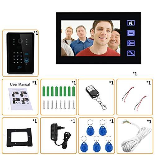 DBSUFV 7 Pulgadas Timbre con Cable RFID Contraseña Videoportero Teléfono Intercomunicador Timbre con cámara IR Línea de TV HD Sistema de Control Remoto