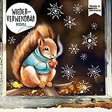 Wandtattoo Loft Fensterbild Weihnachten Eichhörnchen mit Pulli Schneeflocken Wiederverwendbare Fensteraufkleber Fensterdeko Kinderzimmer DIN A4