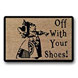 The Original Off with Your Shoes Queen of Hearts Alice in Wonderland Hand Painted Funny Fandom Welcome Door Mat Large Only