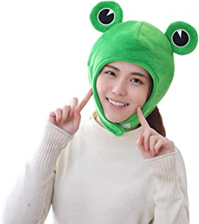 Amosfun Plush Frog Hat Cap Frog Ears Costume Fuzzy Furry Animal Hats Party Photo Booth Props for Kids and Adults
