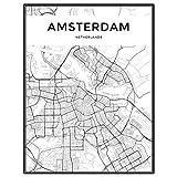 JWJQTLD Leinwanddruck Amsterdam Stadtplan Schwarz Weiß