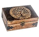 Urna de madera hecha a mano con grabado de árbol de la vida, para mujeres y hombres, joyas de decoración del hogar, cajas decorativas, almacenamiento y organizador (17,8 x 14 x 8,9 cm, árbol 2)