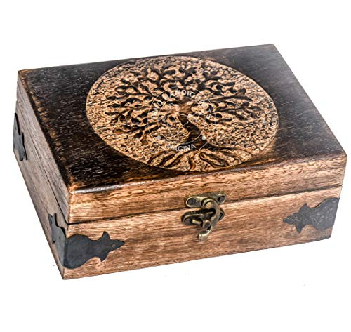 Antique Handmade Wooden Urn Tree of Life Engraving Handcarved Jewellery Box...