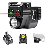 KIARSWE Shockproof Laser Light Combo, 500 Lumens Strobe Light Laser Sights for Handguns, Red or Green Laser for Pistol with Picatinny Rail Light, USB Rechargeable Tactical Flashlights