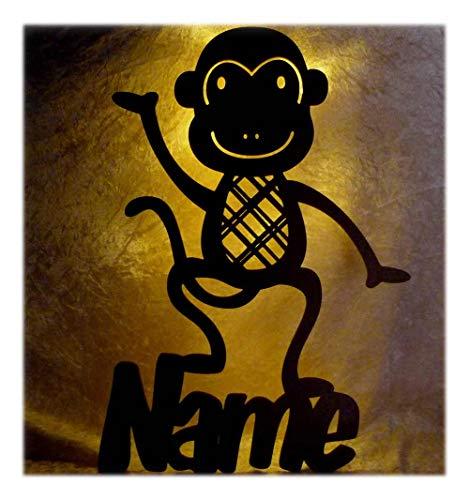 Schlummerlicht24 Led Wandtattoo Lampe mit Wunsch Name Affen Affe Geschenke für Kinder & Erwachsene Baby Kinderzimmer Deko Farbe