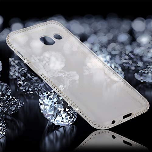 YUNCHAO Funda Protectora de para Galaxy For Samsung Galaxy A3 (2017) Diamante incrustado Transparente Suave TPU Funda Protectora de la contraportada Caja del teléfono Celular (Color : Transparent)
