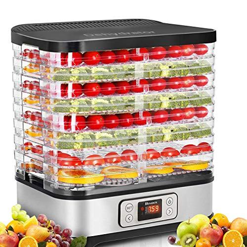 Food Dehydrator Machine, Digital Timer and Temperature Control, 8 Trays, for Jerky/Meat/Beef/Fruit/Vegetable, BPA Free/400 Watt/Updated